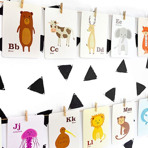 Alphabet Animal Flashcards on wall – Hide and Peek Nursery