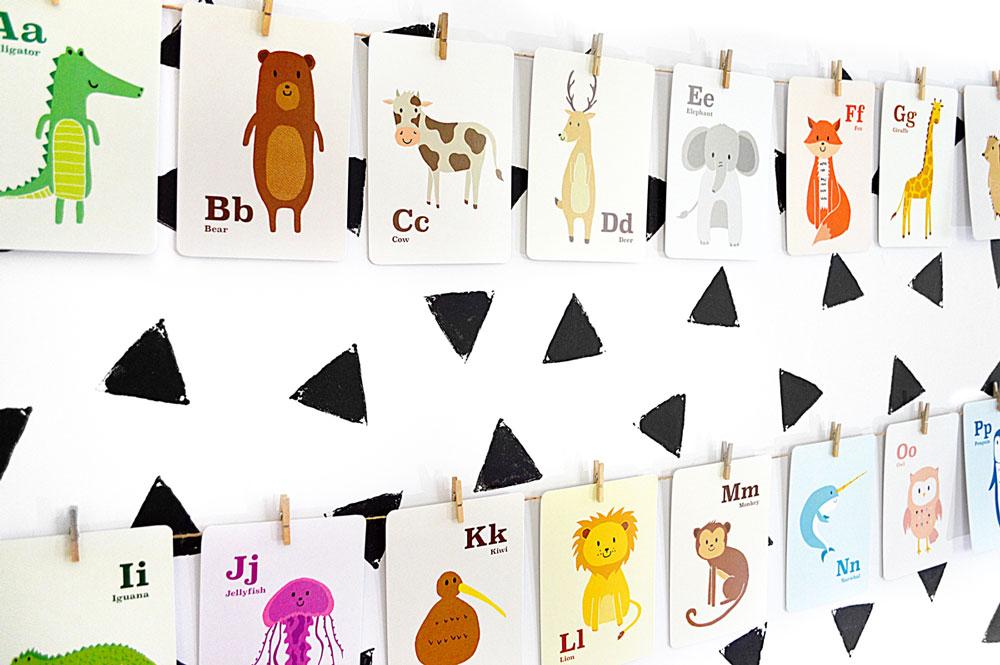 Alphabet Animal Flashcards on wall – Hide and Peek Nursery