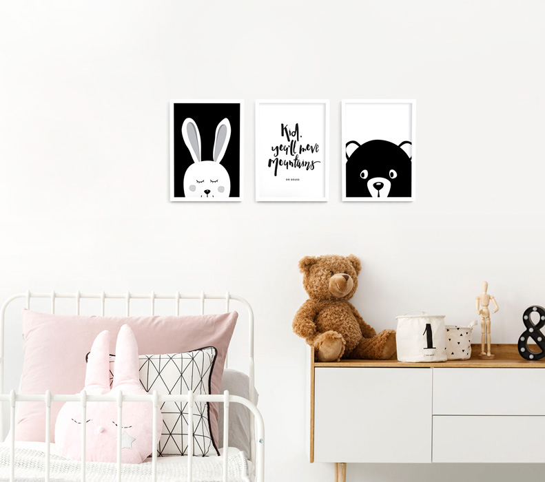 A4 Animal Monochrome Nursery Framed Print Set – white picture frames | bunny, bear and Dr Suess