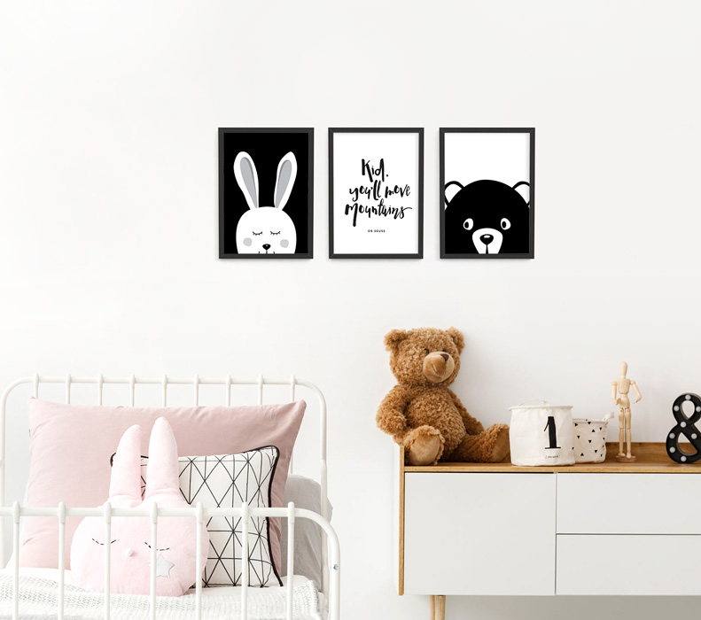 A4 Animal Monochrome Nursery Framed Print Set – black picture frames | bunny, bear and Dr Suess