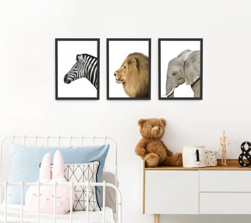 Safari Animal Frame 3 Set – black A3 picture frames