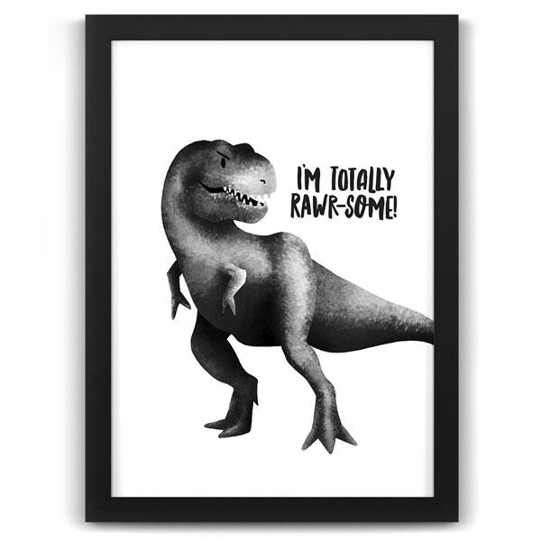 Dinosaur Rawrsome Black Frame