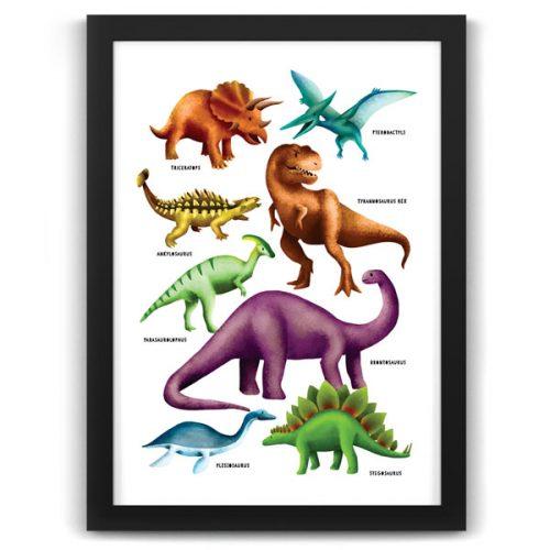 Dinosaur Poster Print Black frame