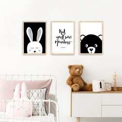 A3 Animal Monochrome Nursery Framed Print Set – natural wood picture frames | bunny, bear and Dr Suess