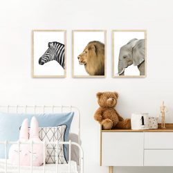 Safari Animal Frame 3 Set – natural wood A3 picture frames