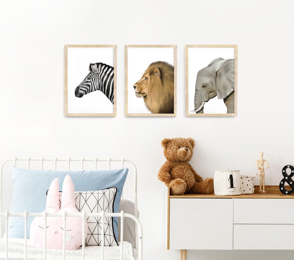 Safari Animal Frame 3 Set – natural wood A3 picture frames
