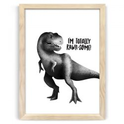 Dinosaur Rawrsome Natural Wood Frame