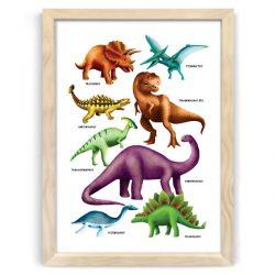 Dinosaur Poster Print Natural Wood frame