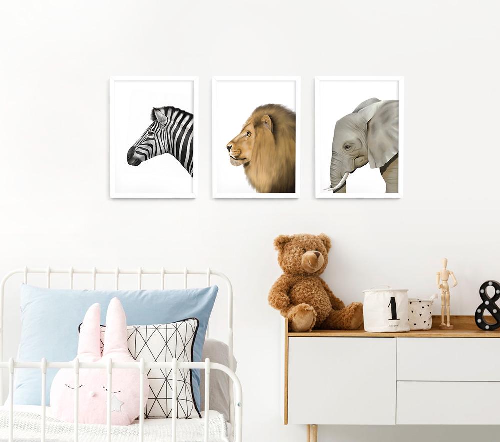 Safari Animal Frame 3 Set – white A3 picture frames