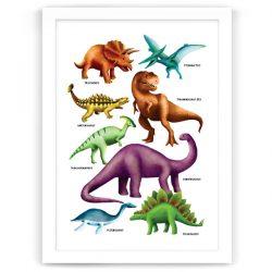 Dinosaur Poster Print White frame