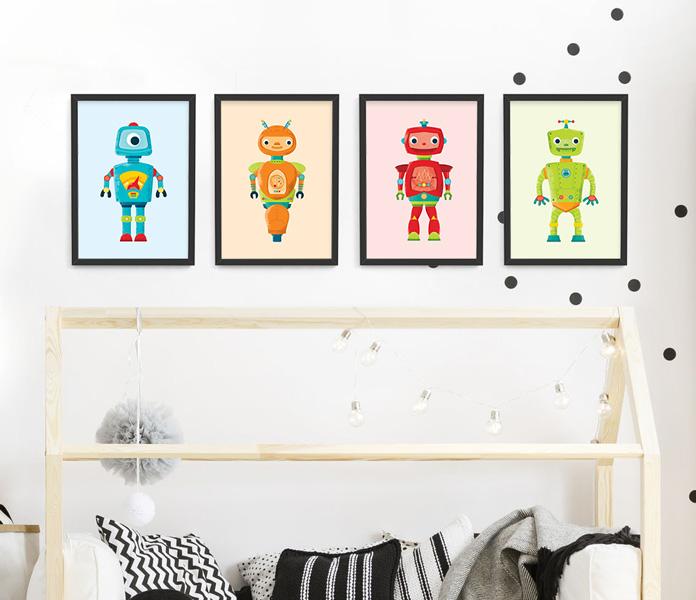Robot frame set – black framed robot prints