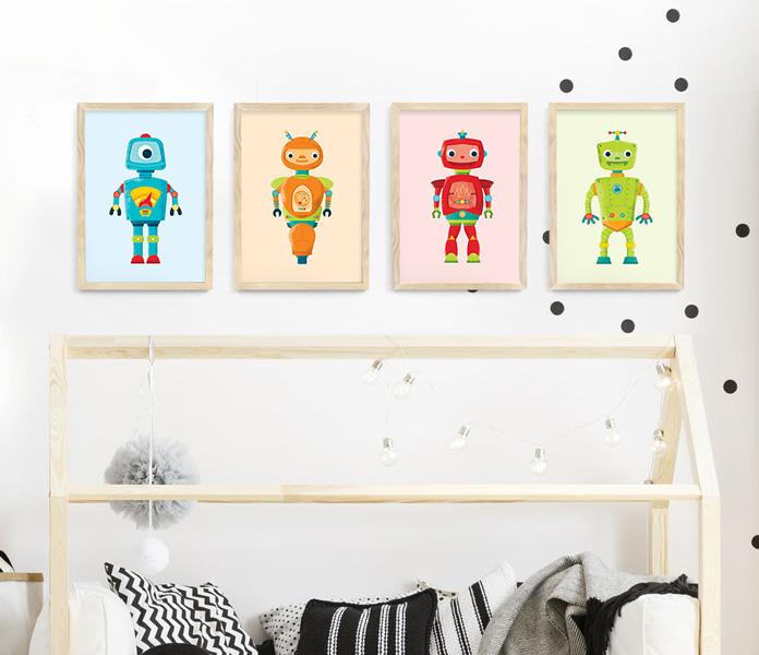 Robot frame set – natural wood framed robot prints