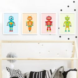 Robot frame set – white framed robot prints