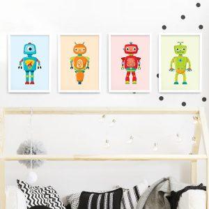 Robot frame set – white framed robot prints