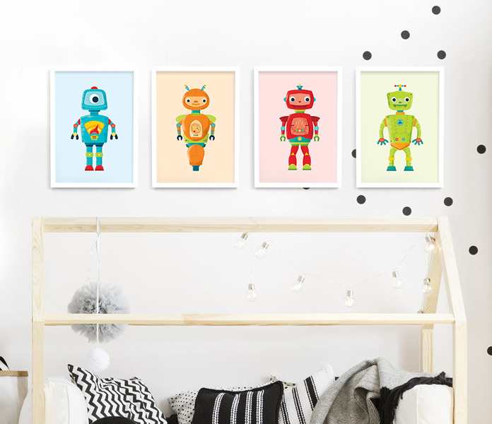 Rad Robots Frame Set 4 Framed Prints | Modern Wall Art | Hide & Peek
