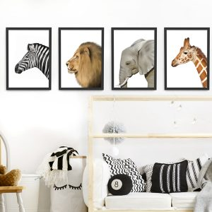 Safari Animal Frame Set – black picture frames