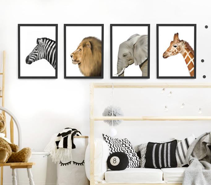 Safari Animal Frame Set – black picture frames