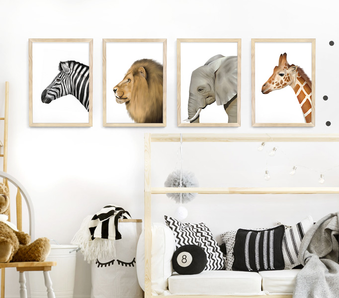 Safari Animal Frame Set – natural wood picture frames