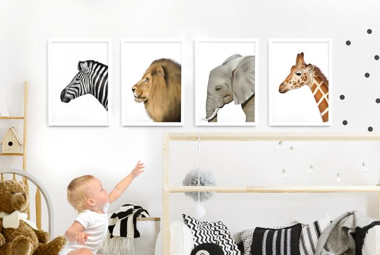 Safari Animal Frame Set – white picture frames