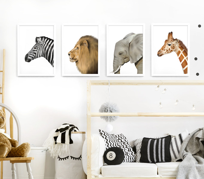 Safari Animal Frame Set – white picture frames
