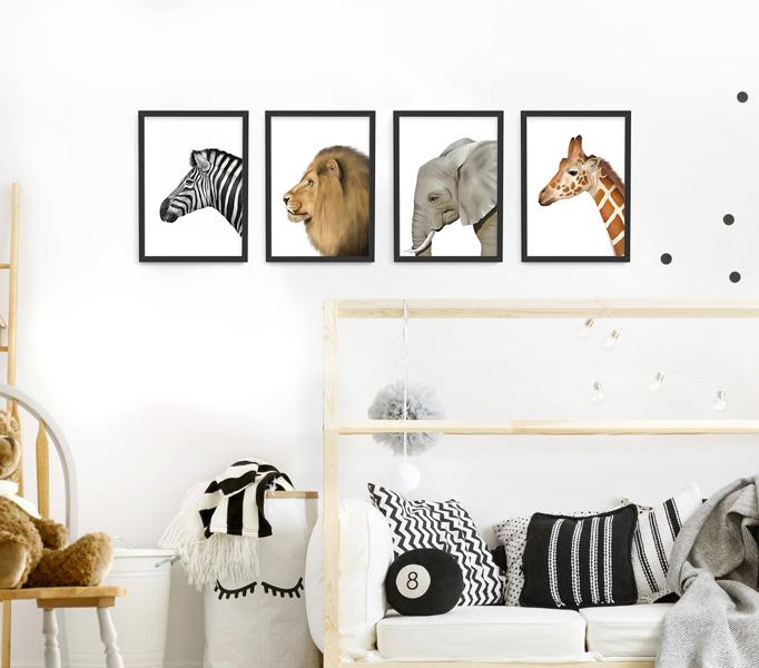 Safari Animal Frame Set – a4 black picture frames