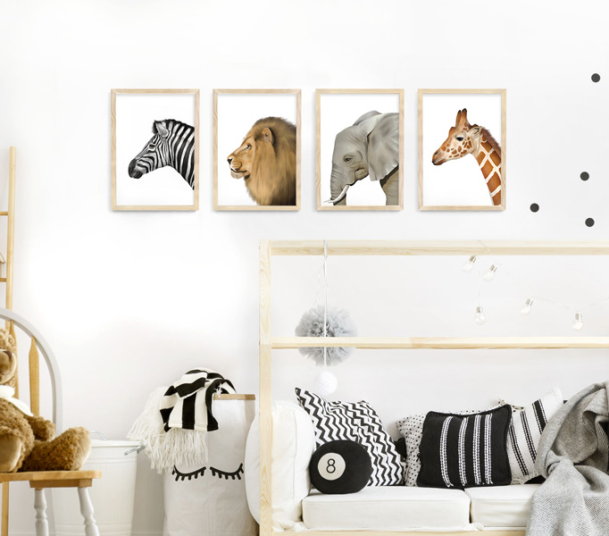 Safari Animal Frame Set – A4 natural wood picture frames