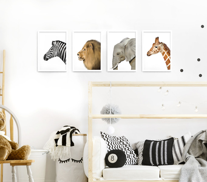 Safari Animal Frame Set – A4 white picture frames