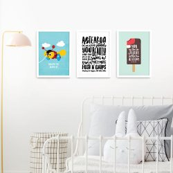 Kiwiana wall art print set A3 White Frames
