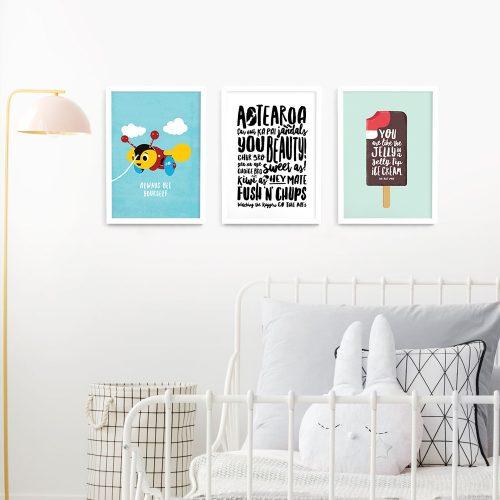 Kiwiana wall art print set A3 White Frames
