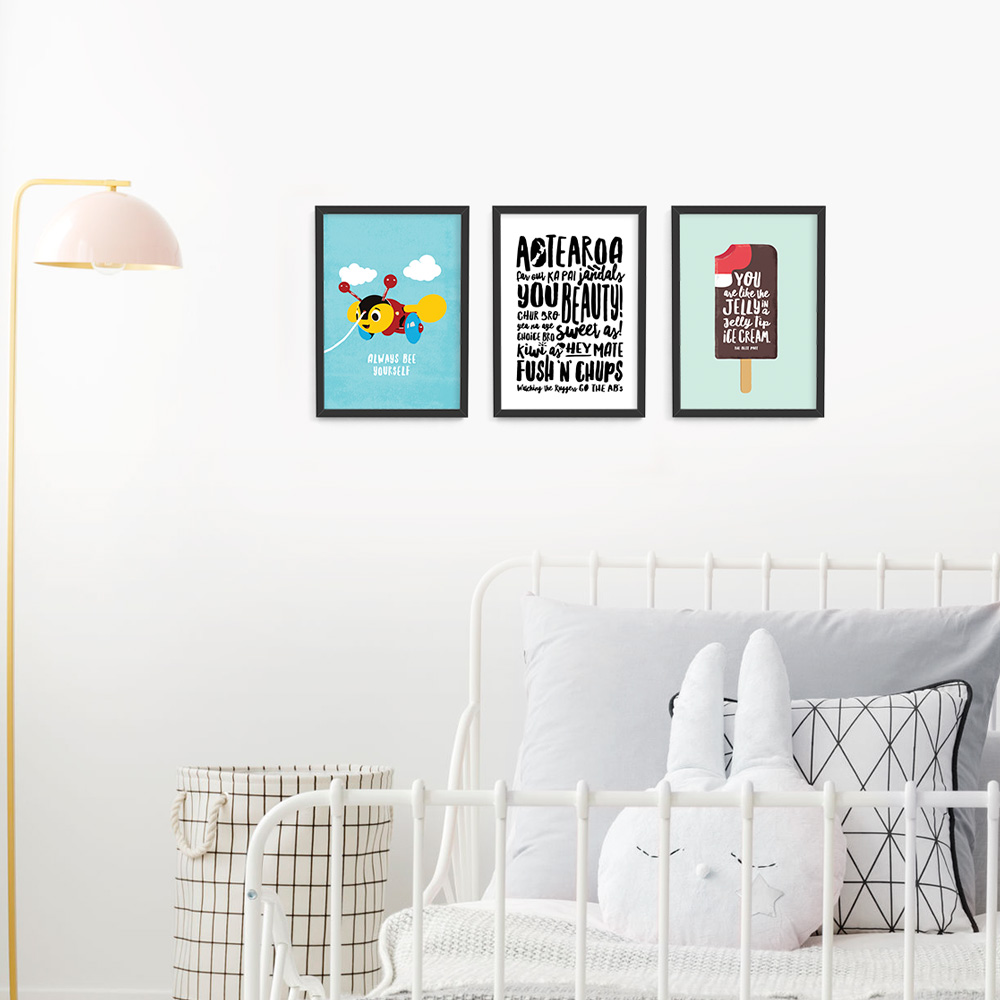 Kiwiana wall art print set A4 Black Frames