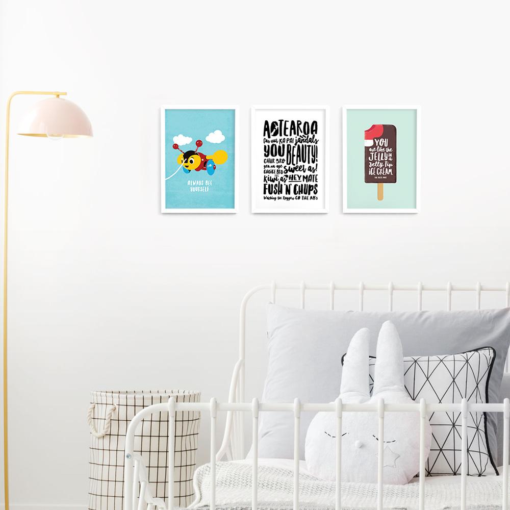 Kiwiana wall art print set A4 White Frames