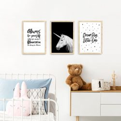 Unicorn framed print nursery art A3 natural wood frames