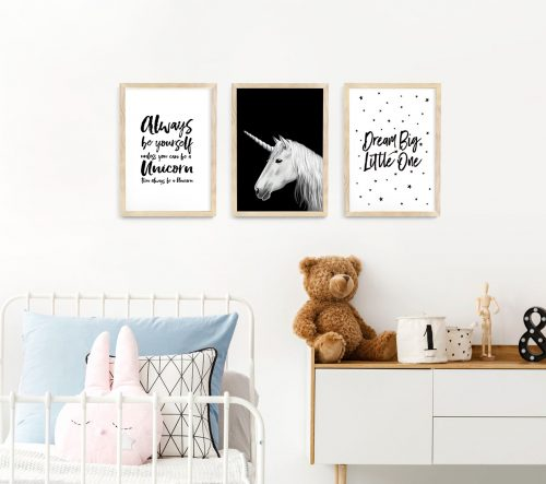 Unicorn framed print nursery art A3 natural wood frames