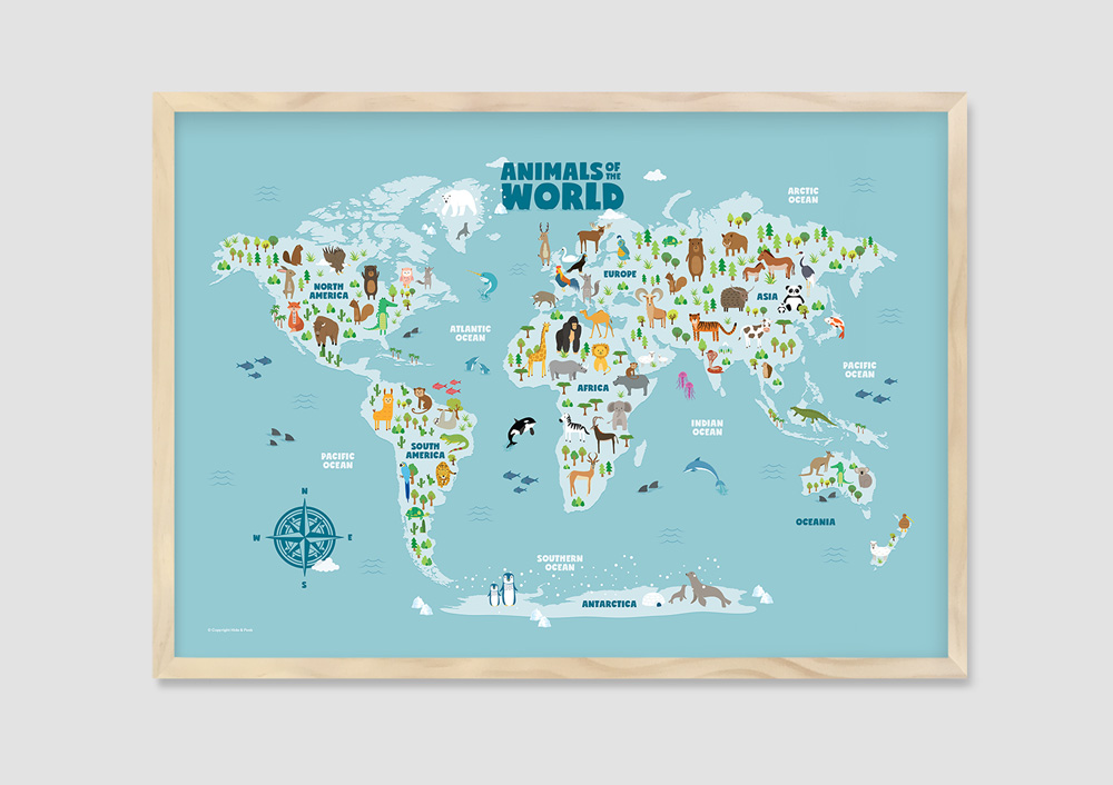 Animal World Map Art natural frame