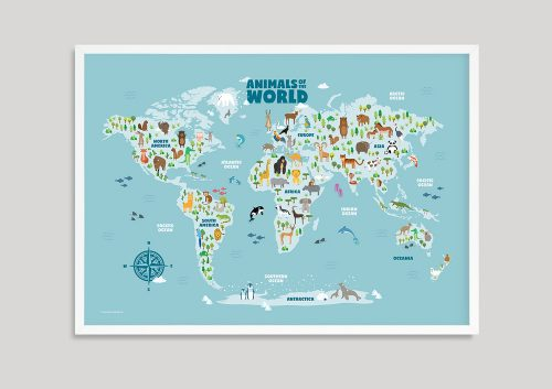 Animal World Map Art white frame