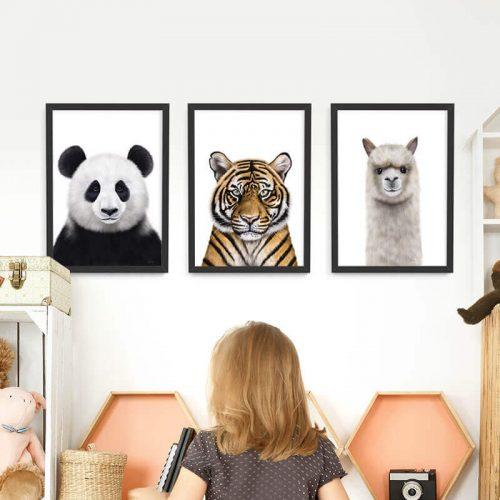 Animals Framed Print Set Black frames A3