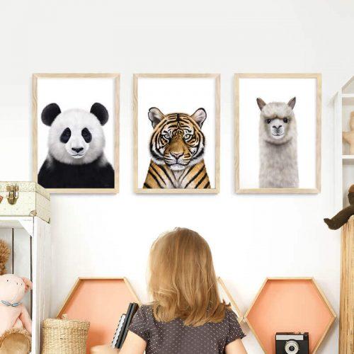 Animals Framed Print Set Natural Wood A3