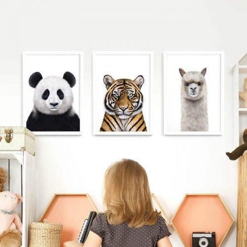 Animals Framed Print Set White frames A3