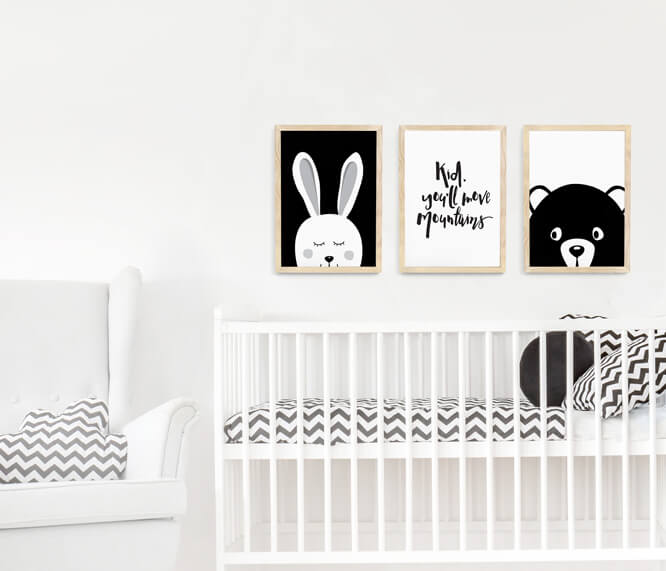Black and white nursery wall art – framed print set