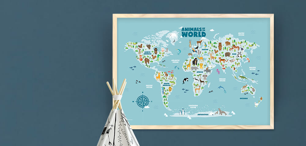 Animals of the world map wall art