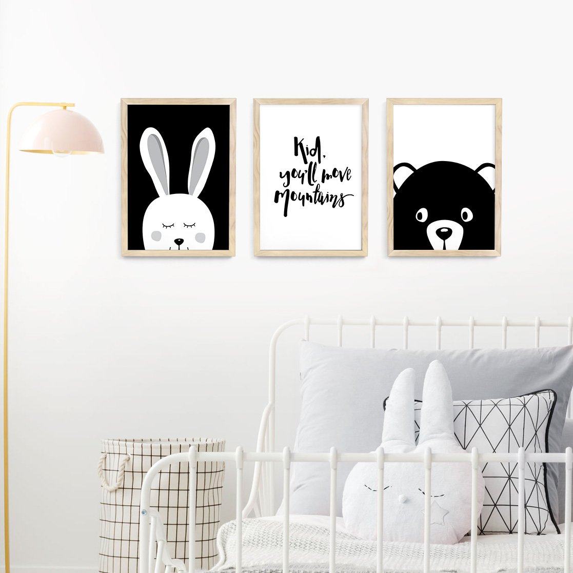 Animal Monochrome Nursery Framed Print Set 3 Frames