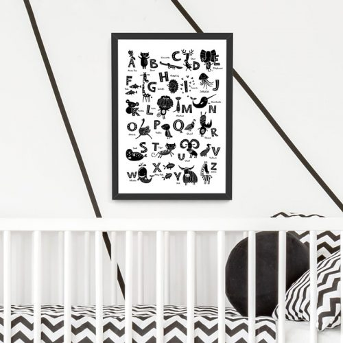 ABC Alphabet Animal Black & White Print Baby Room