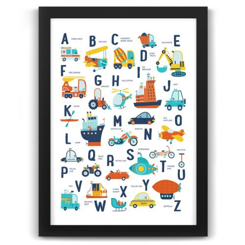 Alphabet Transport Vehicles Print Black Frame