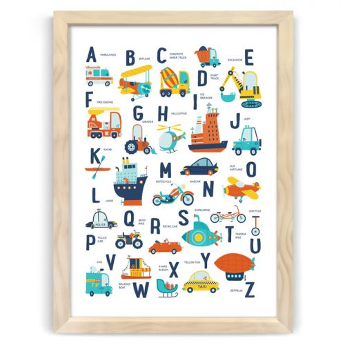 Alphabet Transport Vehicles Print Natural Wood Frame