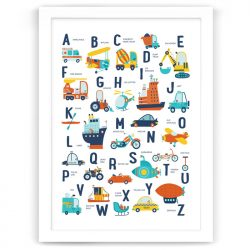 Alphabet Transport Vehicles Print White Frame