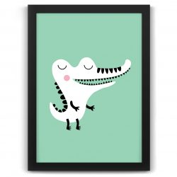 Pastel safari crocodile print black frame