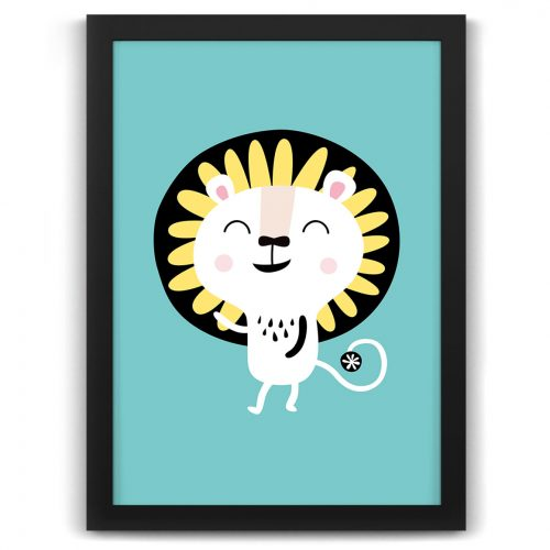 Pastel safari lion print black frame