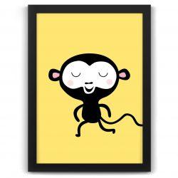 Pastel safari monkey print black frame