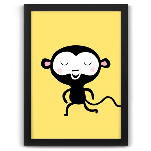 Pastel safari monkey print black frame