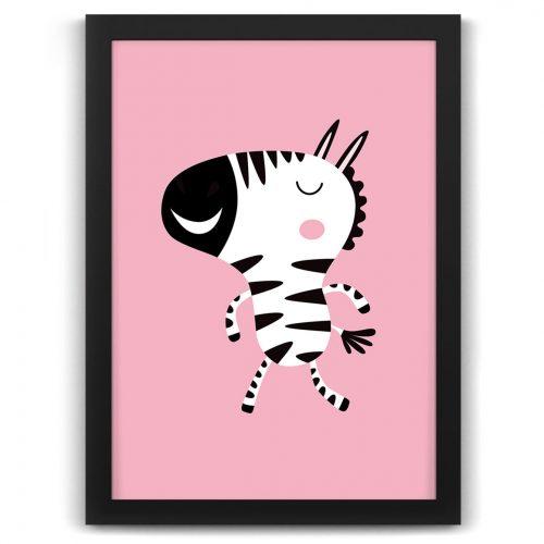 Pastel safari zebra print black frame